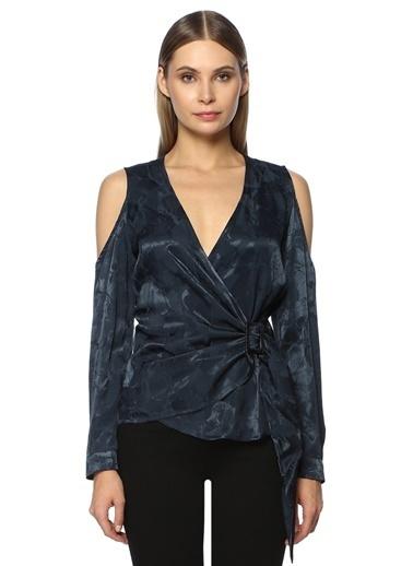NetWork Kadın 1071780 V Yaka Bluz Lacivert